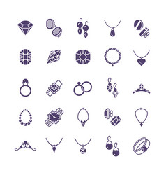 jewelry silhouette icons set earrings vector image