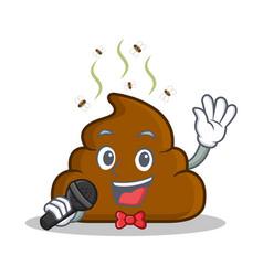 Karaoke poop emoticon character cartoon vector