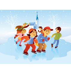 kids playing ice skating vector image