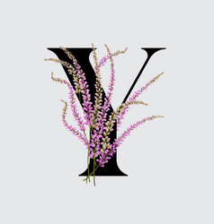 Lavender branch bouquet tiny polly field flowers vector