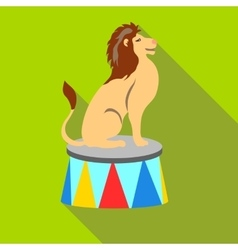 Lion circus sitting icon flat style vector