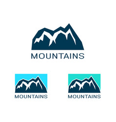 logo mountain in flat style icon silhouette vector image