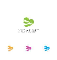 love relationship logo with hug hearts logo vector image