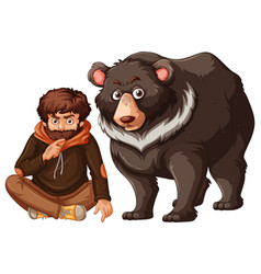 Man and grizzly bear on white background vector