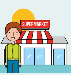 man character standing front supermarket vector image