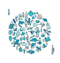 Marine life sketch for your design vector image