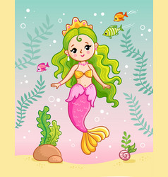 mermaid princess underwater among seaweed and vector image