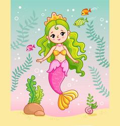 Mermaid princess underwater among seaweed vector