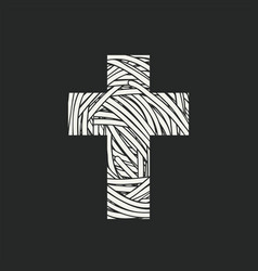 monochrome design cross with wound threads vector image