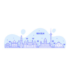 new delhi skyline india city buildings line vector image