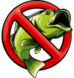 No fish sign icon isolated on white background vector