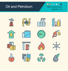 Oil and petrolium icons filled outline design vector