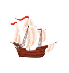 old ship with big beige sails and red flags vector image
