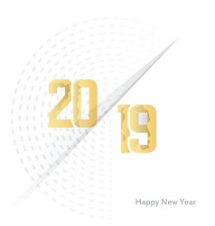 paper cut happy new year 2019 text design vector image
