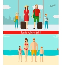 People with kids traveling on vacation summer vector