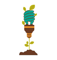 Plant stem with leaves and fluorescent bulb spiral vector