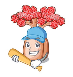 Playing baseball bottle tree in rose shape cartoon vector