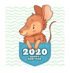 pocket rat happy new year 2020 cute cartoon rat vector image