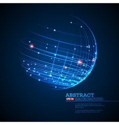 point and curve constructed sphere wireframe vector image