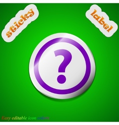 Question mark icon sign Symbol chic colored sticky vector