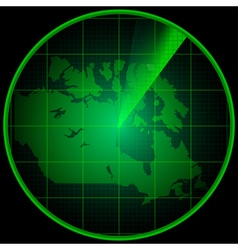 Radar screen with the silhouette of Canada vector
