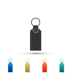 rectangular key chain with ring for key icon vector image