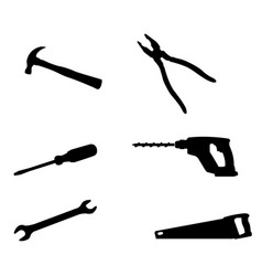 repair tools silhouette icons vector image