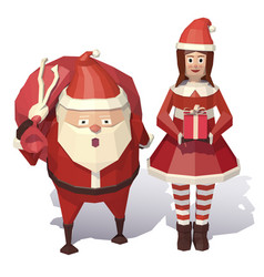 santa claus and christmas girl vector image