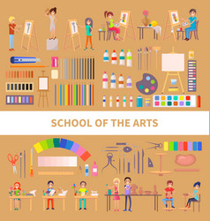 School arts with diligent students vector
