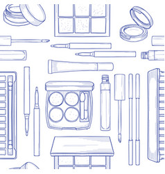 seamless pattern sketch set makeup products vector image