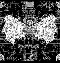 seamless pattern with devil on black vector image