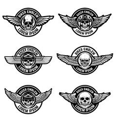 Set of biker club emblems templates emblems with vector
