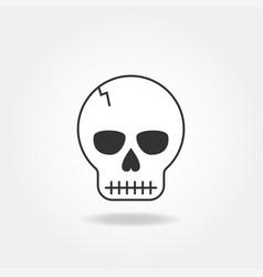 skull line icon vector image
