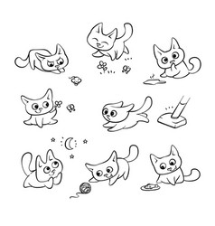 small cats different emotions and situations vector image