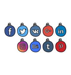 Social icons 3 christmass ball vector