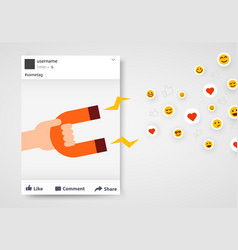 social media post frame with likes and follower vector image