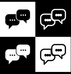 speech bubbles sign black and white icons vector image
