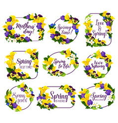 spring flower frame for springtime holiday design vector image