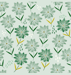 tender green pattern with childish sketch flowers vector image