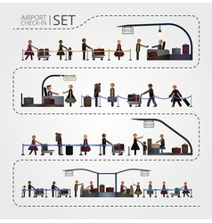 The set of airport check and registration desk vector image