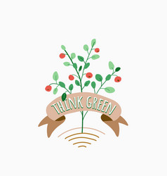 think green plant with leaves and berries grows vector image