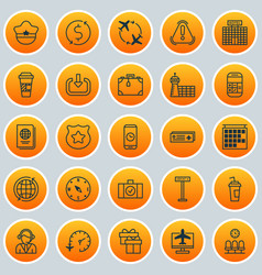Traveling icons set collection of locate fly vector