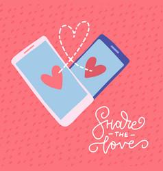 two smartphones in heart shape romantic card vector image