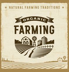 Vintage organic farming label vector