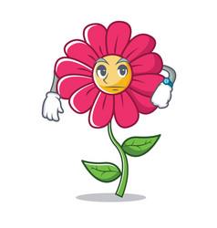 Waiting pink flower character cartoon vector