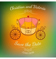 Wedding retro carriage with curls over vector