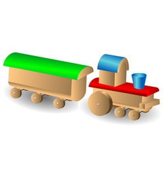 wooden children s locomotive with wagon vector image