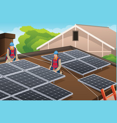 Workers installing solar panels on roof vector