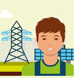 Young man solar panel electric tower energy vector