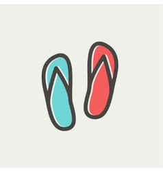 Beach slippers thin line icon vector image